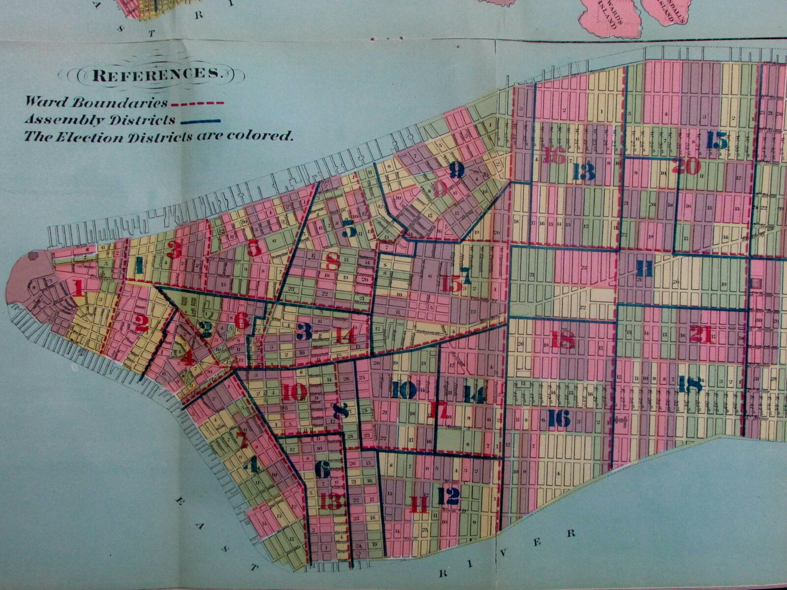 Map Of New York City Districts.New York City Plan 1870 Political Wards Senate Congress Old Map