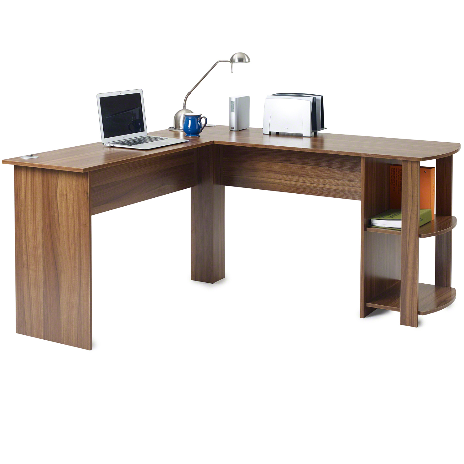 Corner Office Desk Home Laptop Table Workstation Computer: L-Shaped Office Computer Desk, Large Corner PC Table With