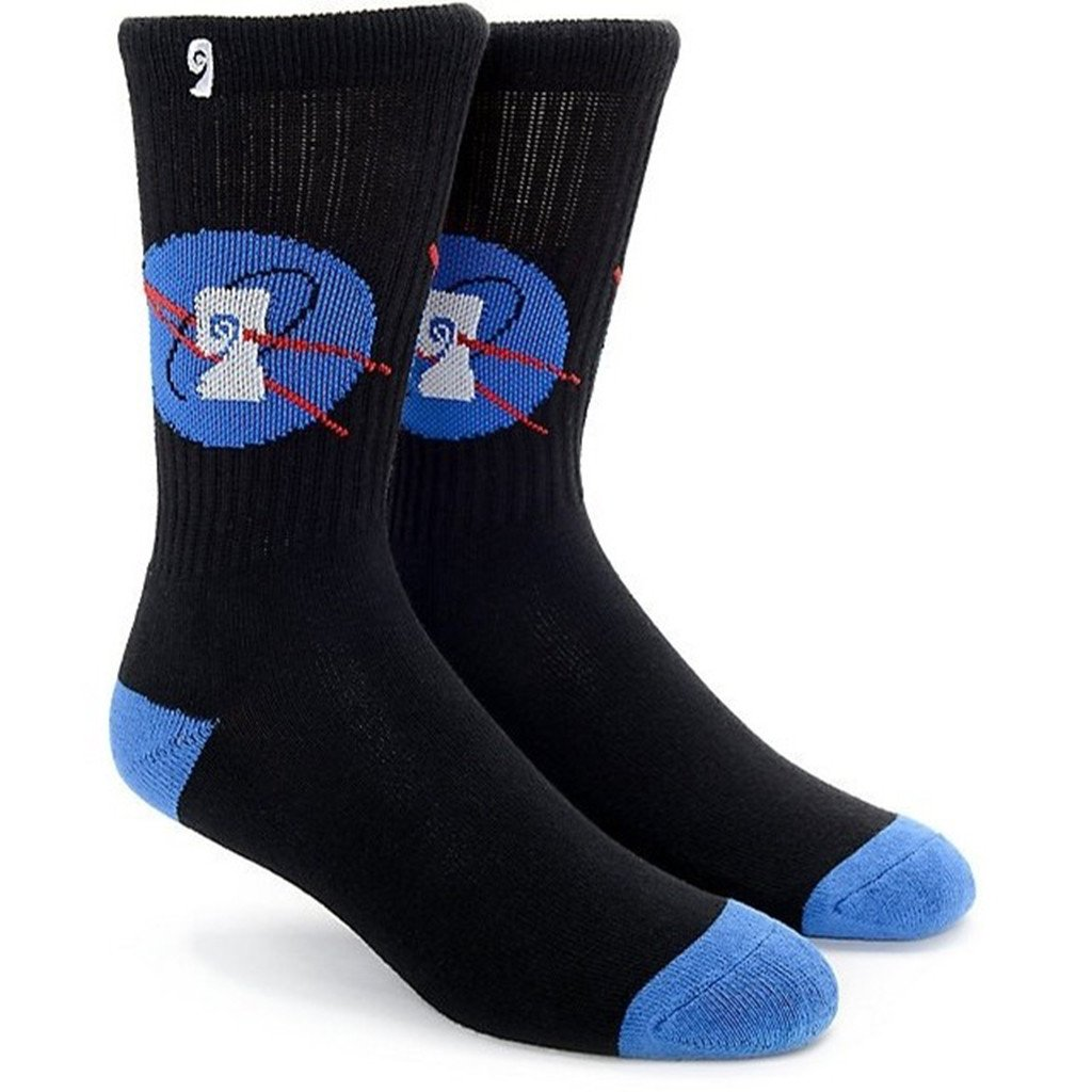 Psockadelic Socks Nasa Black Blue New Skateboard Sox By Slash & Figgy