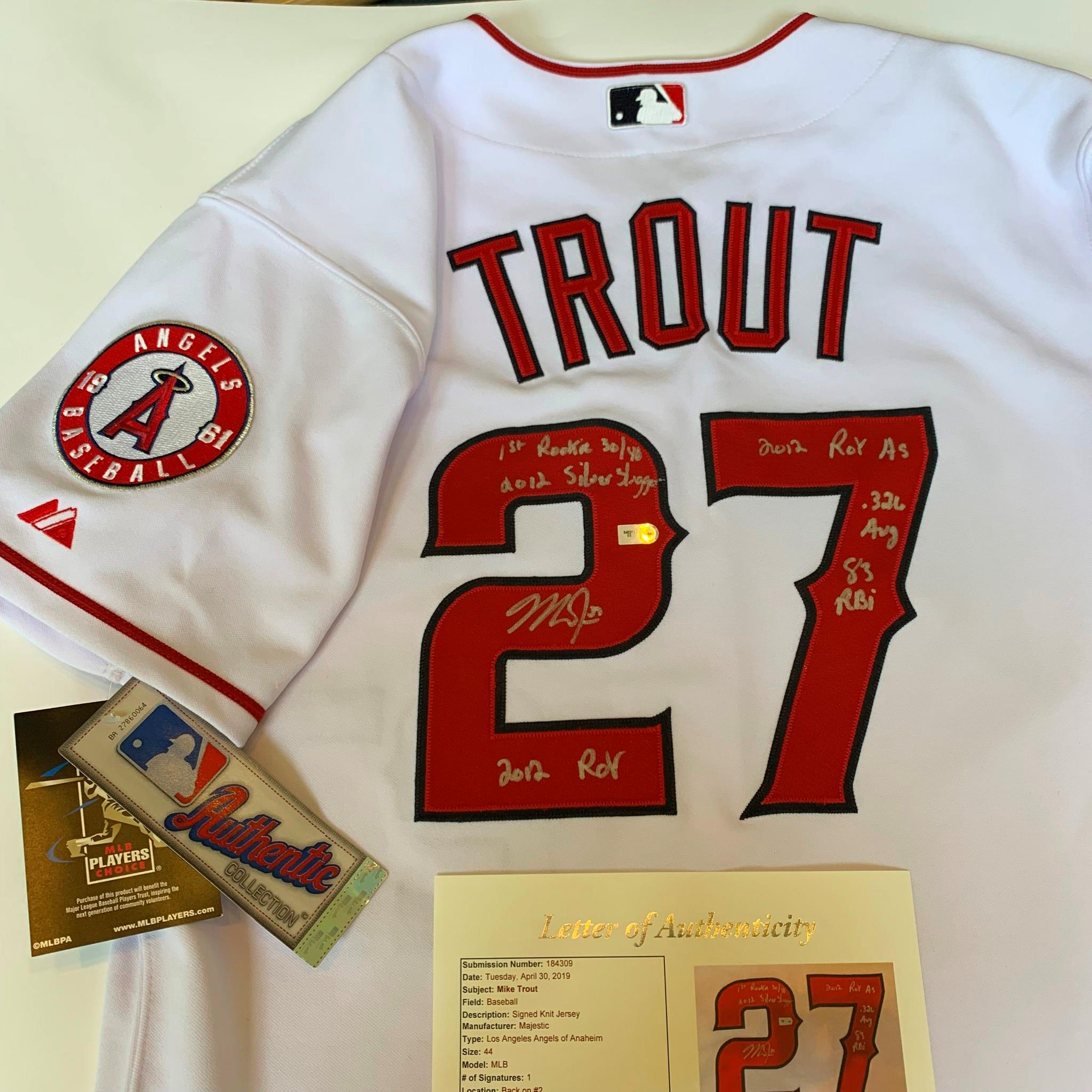 brand new 0d8c8 f8002 Details about Magnificent Mike Trout Signed Heavily Inscribed Anaheim  Angels Jersey JSA COA