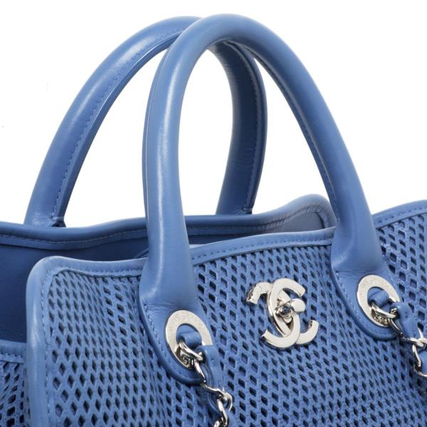 012b98a9ba3a Chanel Blue Perforated Calfskin Up in the Air Tote | eBay