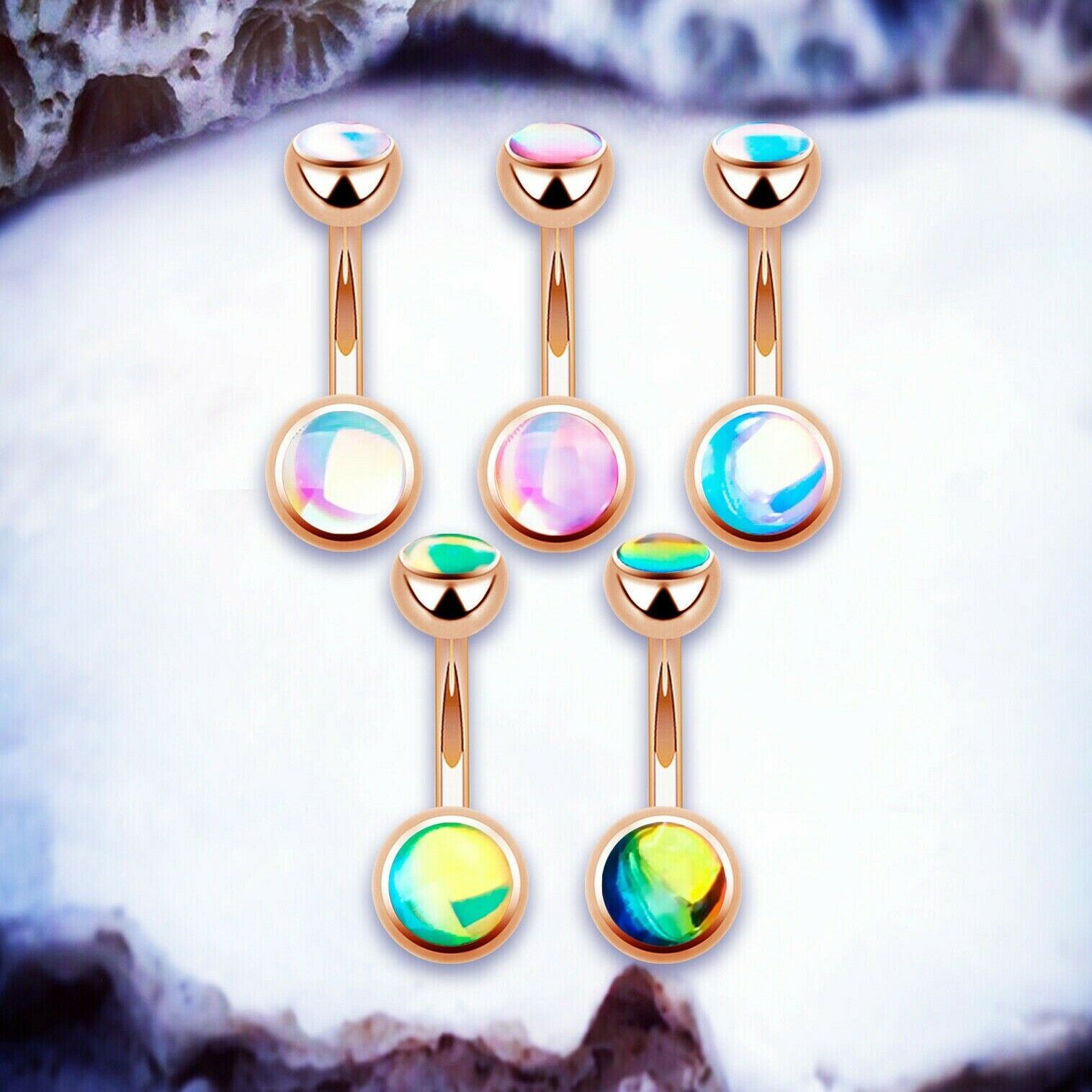 Details About Unicorn Belly Button Ring Pink Navel Jewellery Rose Gold Navel Bar Belly Barbell
