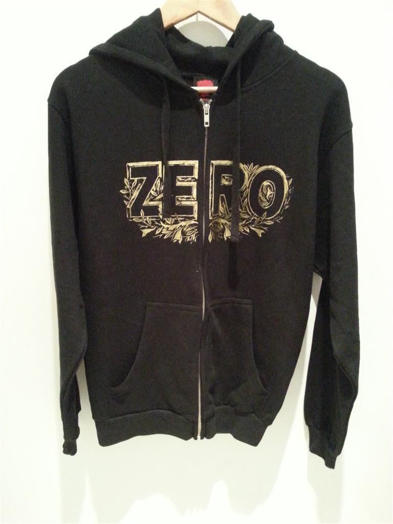 Zero Skateboards Zip Hoodie Gold Leaf Black Hoody Fleece jacket FREE POST