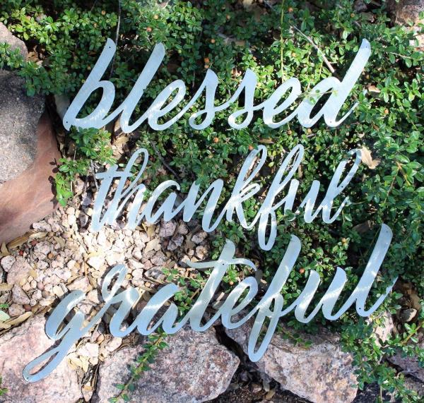 grateful thankful blessed Metal Wall Art Words Polished Steel | eBay