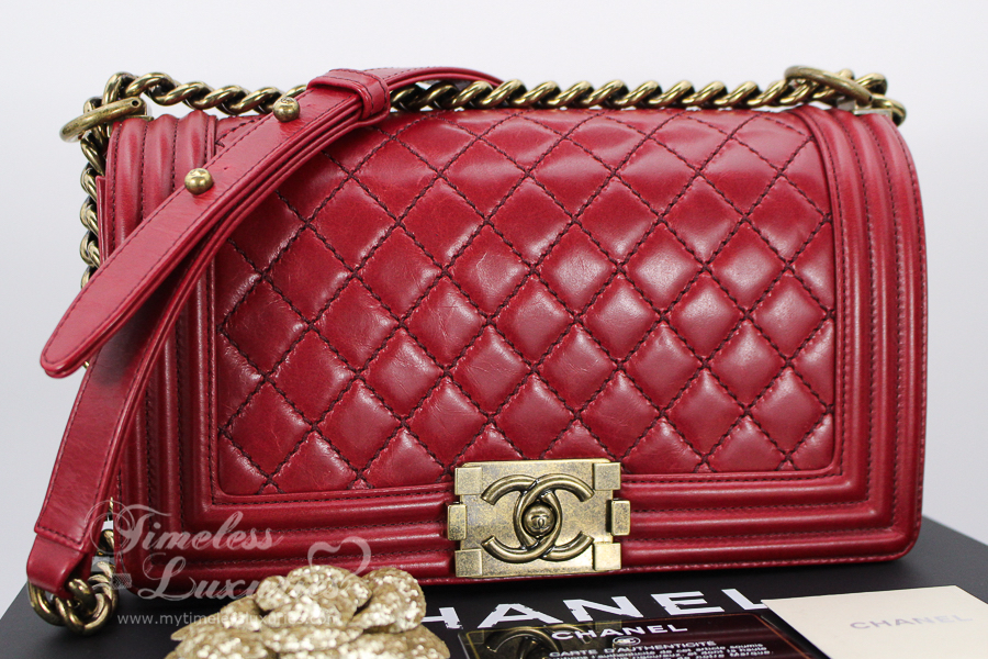CHANEL RED CALFSKIN QUILTED BOY FLAP BAG GOLD HW EBay - Lawn care invoice template free chanel online store
