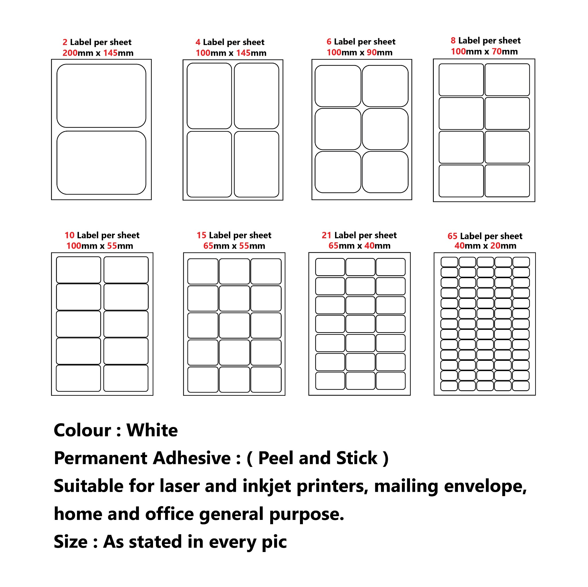 Business, Office & Industrial 40 Labels Per Sheet A4 Address Labels Sticky Self Adhesive White Peel Material Handling