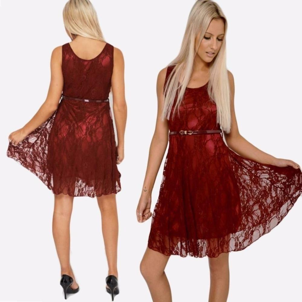 Details about New Womens Fabulous Wine Lace Overlay Red Party Wedding Skater  Dress with Belt bb823d944