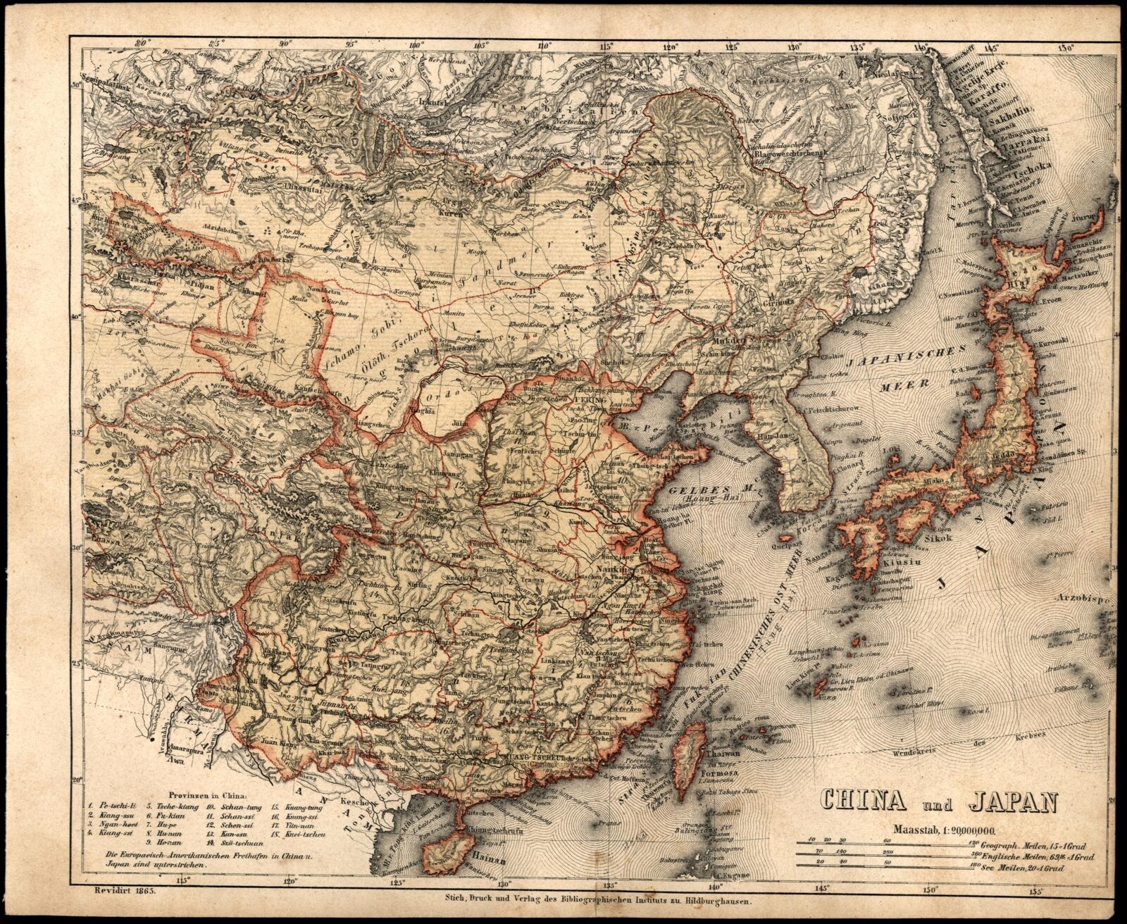 Map Of Asia Japan And China.Asia China Japan Korea C 1867 Detailed German Map Ebay