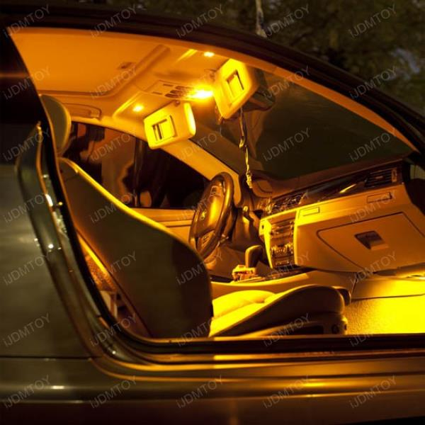 Amber yellow 168 194 2825 t10 9 smd led bulbs for car interior map dome lights ebay for Illegal to have interior car lights on