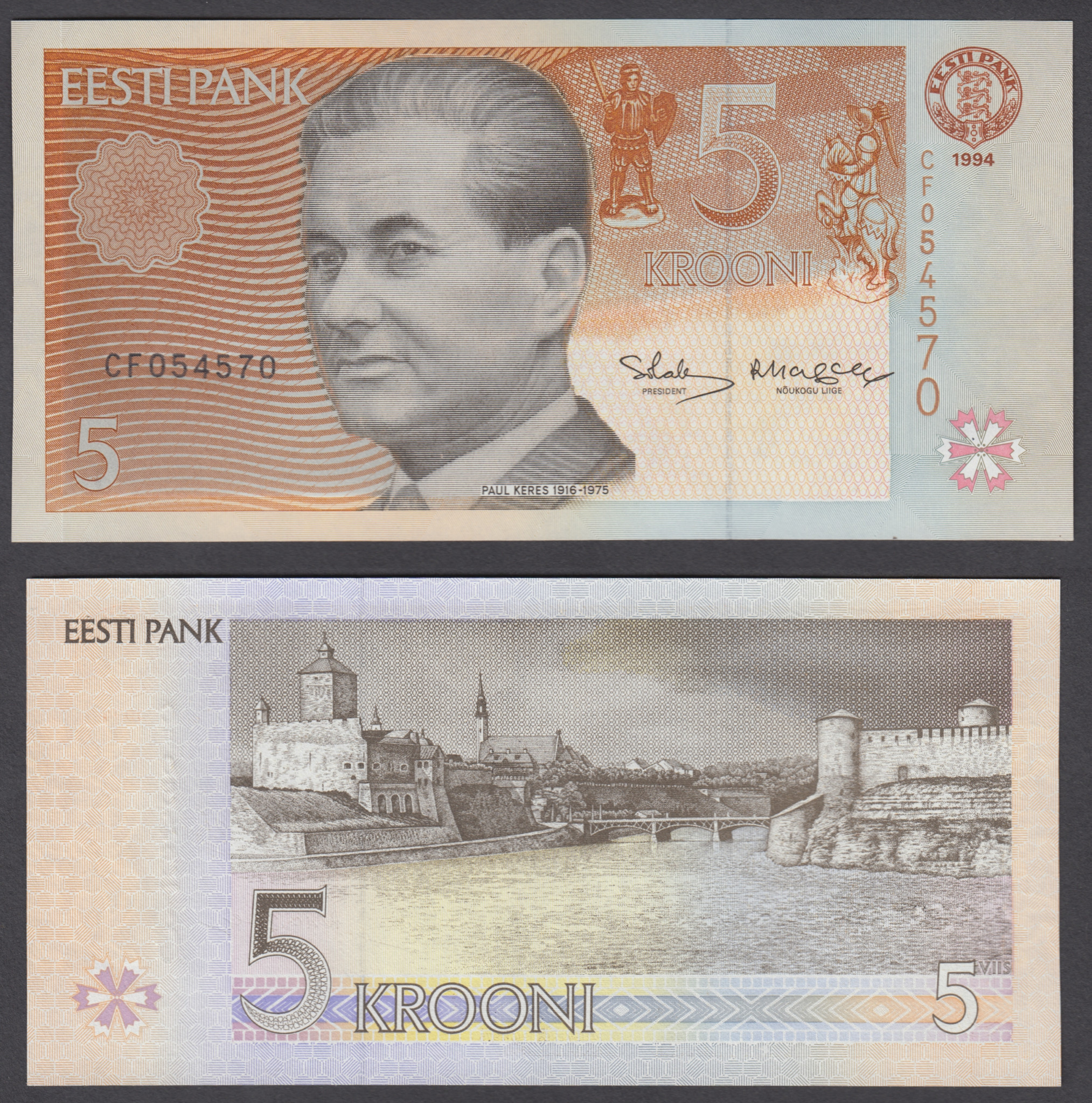 ESTONIA SET 2 PCS 2 5 KROONI 1994-2007 P 76-85 UNC