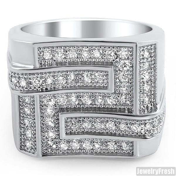 White Gold Finish Iced Out Baller Style Mens Silver CZ Ring