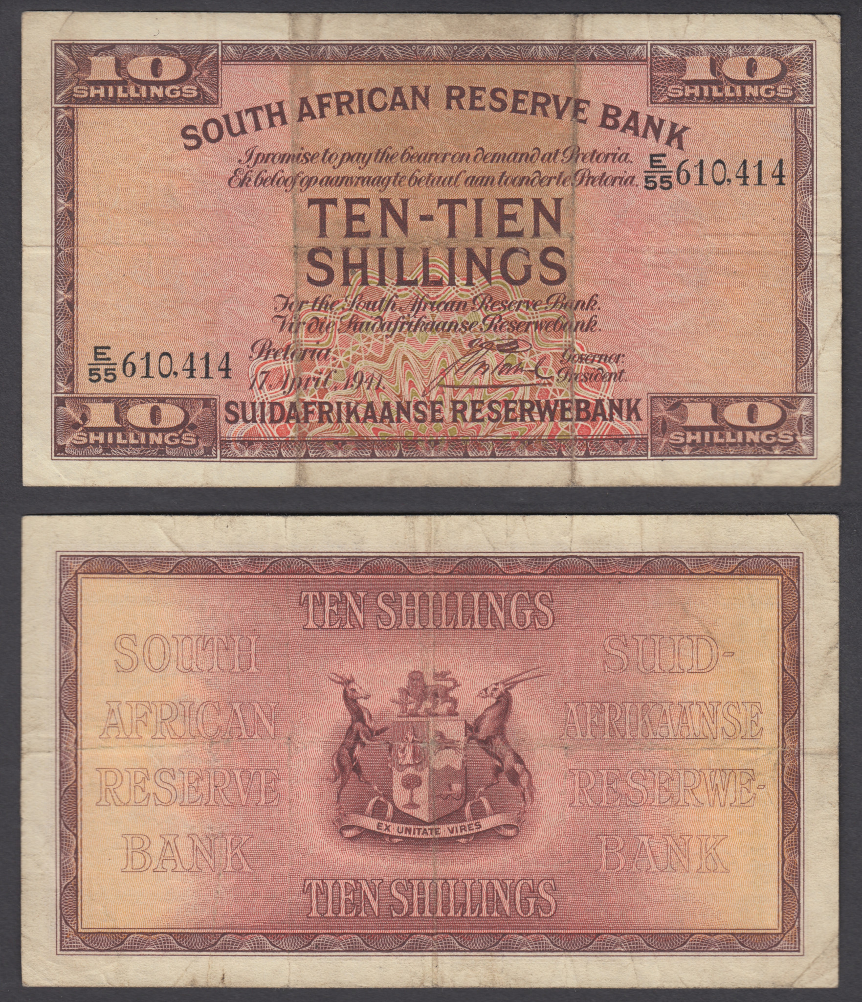 Details about South Africa 10 Shillings 1941 (F-VF) Condition Banknote P-82d