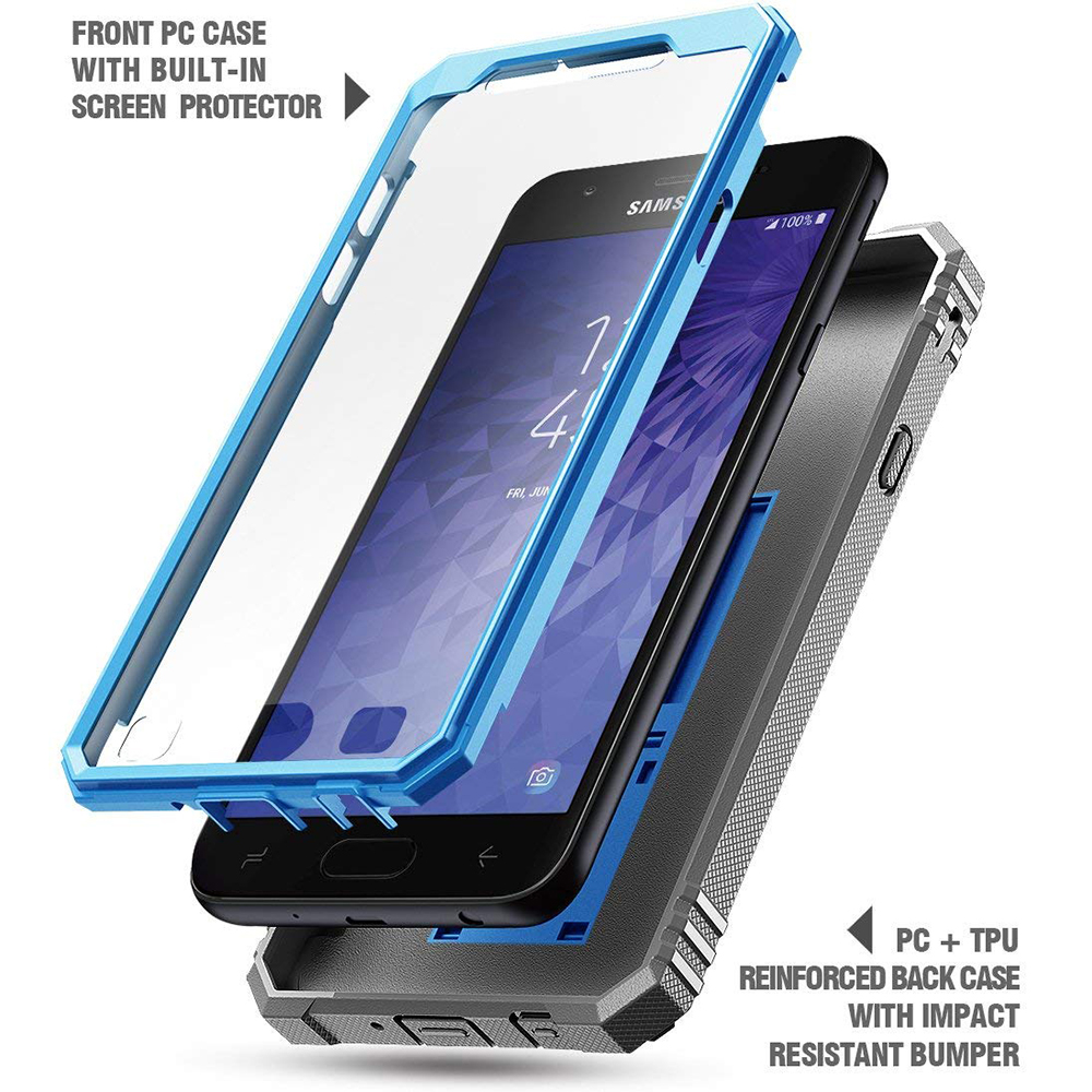 big sale 2c64a e3c10 Details about Samsung Galaxy J3 Case Hybrid Armor Shockproof Cover  [w/Stand] Blue