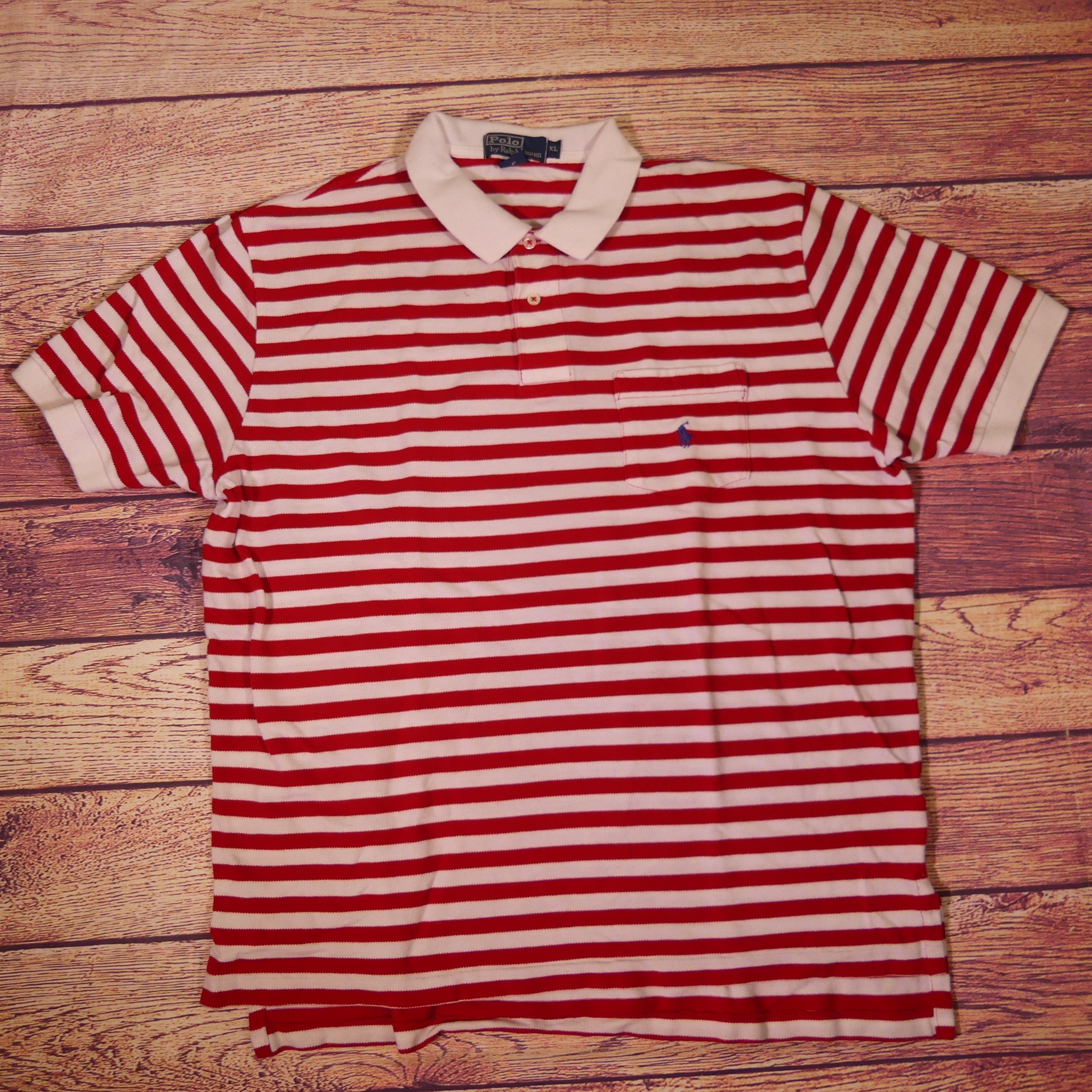 utsökt design klassiska stilar bra erbjudanden 2017 Polo Ralph Lauren XL Red & White Striped Pocket Polo Shirt Blue ...