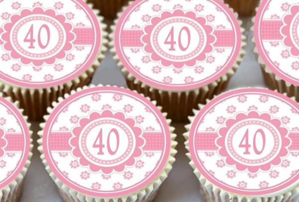 30 X CUTE PINK HAPPY 40TH BIRTHDAY EDIBLE CUPCAKE TOPPERS CAKE