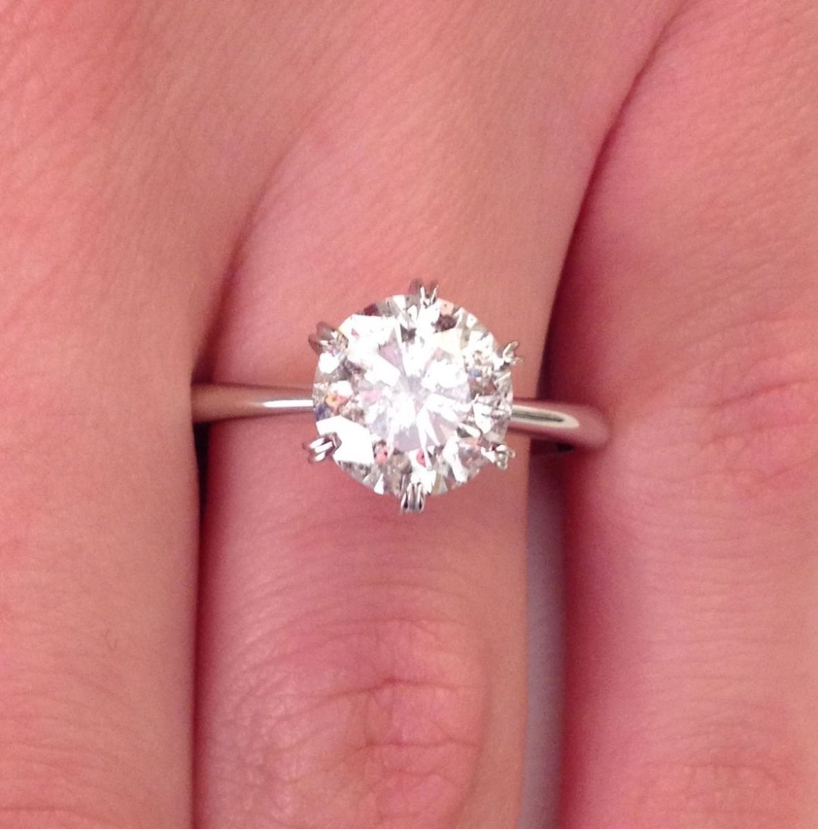 2.00 ct SI1/D Round Cut Diamond Six Prong Engagement Ring 18K White ...