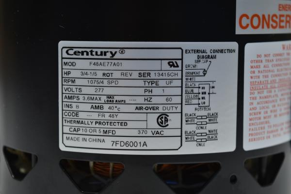 277V Century 7FD6001A Motor 3//4 to 1//5 HP 4 speed 1075 RPM