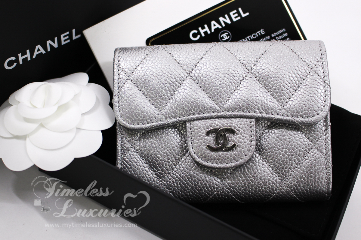 23882b997462 Very rare CHANEL Compact Wallet/ Card Holder/ Coin Purse with Mona Lisa  Back Pocket in Pearly Silver Caviar and Ruthenium Hardware, from 2017  Spring/ Summer ...
