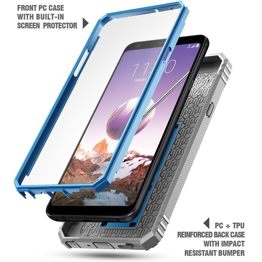 detailed look d8b82 202ae Details about Poetic Revolution Kick-Stand Built-in-Screen Protector Case  for LG Stylo 4 Blue