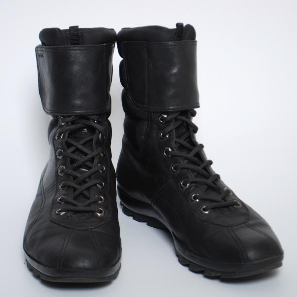 983580aa116a PRADA Women Combat Boots Black Leather Lace Up Ankle Booties Size EU ...