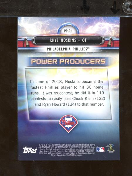Details about 2018 Bowman's Best Power Producers RHYS HOSKINS RC  Philadelphia Phillies (DC21a)