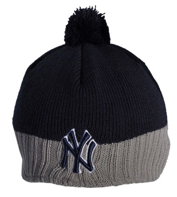 Details about New Era - NY Yankees Grey + Blue Dog Ear Bobble Beanie Hat  (bh128) aafe8ca8a72