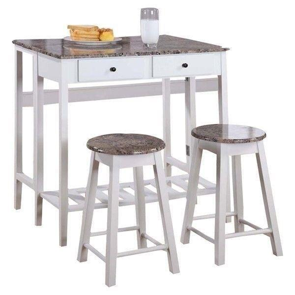 White Wooden Marble Top Kitchen Breakfast Cart Set Dining