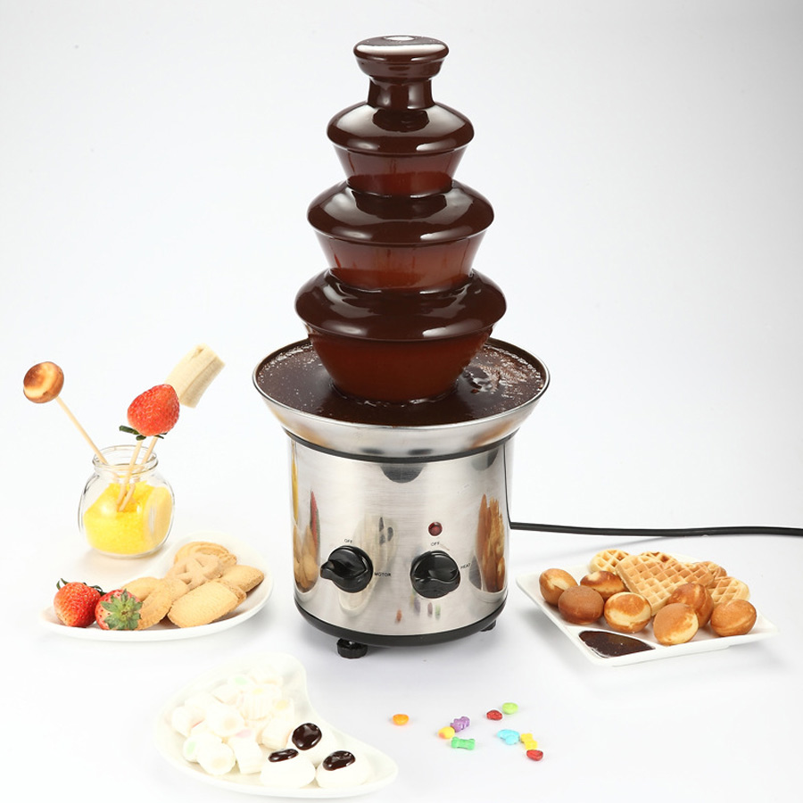4 Tier Electric Chocolate Fountain Fondue Melt Stainless Steel Chocolate Dipping