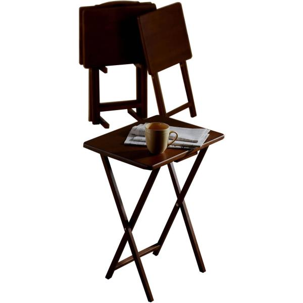 TV TRAY TABLES Folding Wood Collapsible Table Game Laptop Snack Dinner SET  OF 4