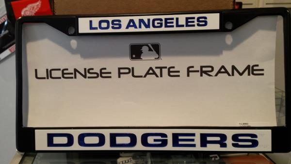 MLB Los Angeles Dodgers Black Laser Cut Chrome License Plate Frame ...