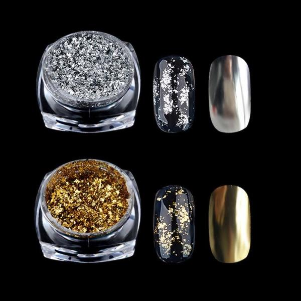 Nail Art Silver Glitter Pigment Flakes Mirror Effect Powders Sequins ...
