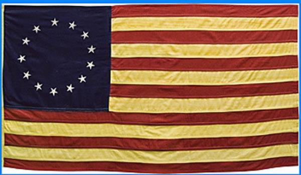 2a01fd827c41 Details about Primitive American Nylon Betsy Ross 13 STAR FLAG wSLEEVE TEA  STAINED 36