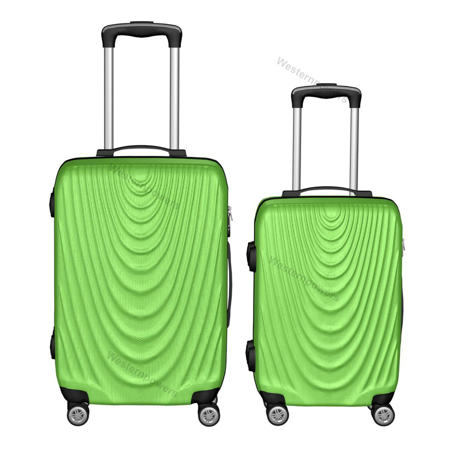5e58e4c8dd2b Details about 2 Piece Lightweight Suitcase Hardside Spinner Luggage Set  20'' 24'' Green