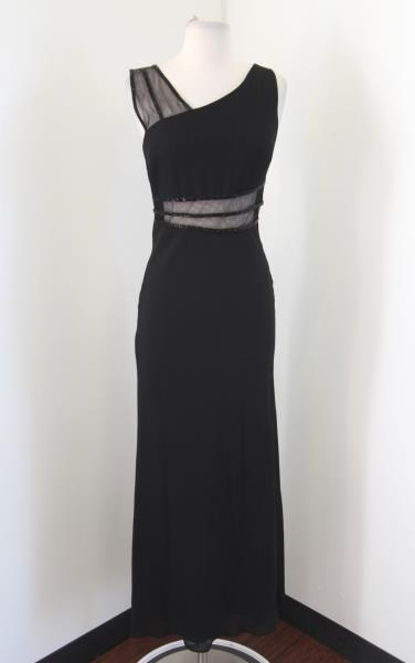 Ever Beauty Nordstrom Black Mesh Cutout Beaded Sequin Evening Dress