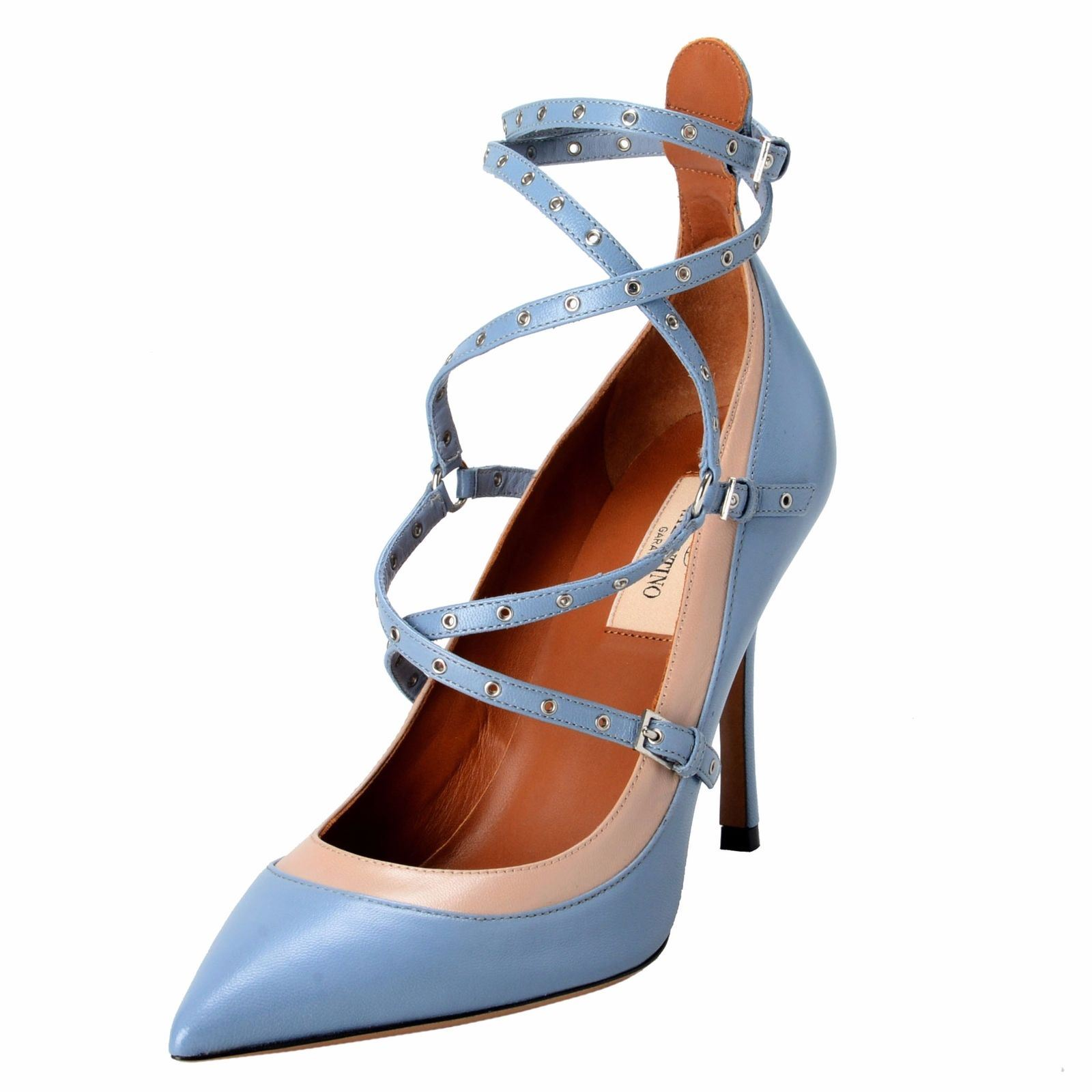 a8fb1caac12 Details about Valentino Garavani Women s Leather Two Tones Ankle Strap High  Heels Shoes