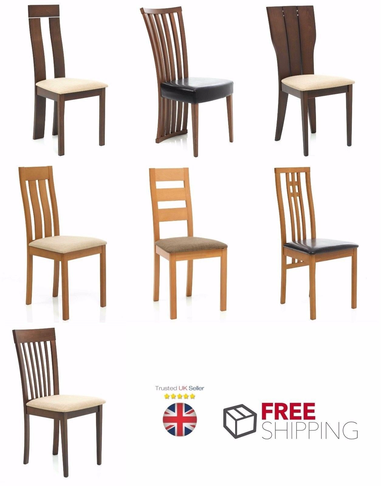 Details about 6x Dining Chairs Solid Wood Leather Foamed Seat Walnut Oak  Kitchen Chair