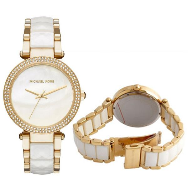 ca016362a77 The Michael Kors Parker watch exudes glamour. Polished gold-tone and  faceted white acetate center links alternate on the bracelet