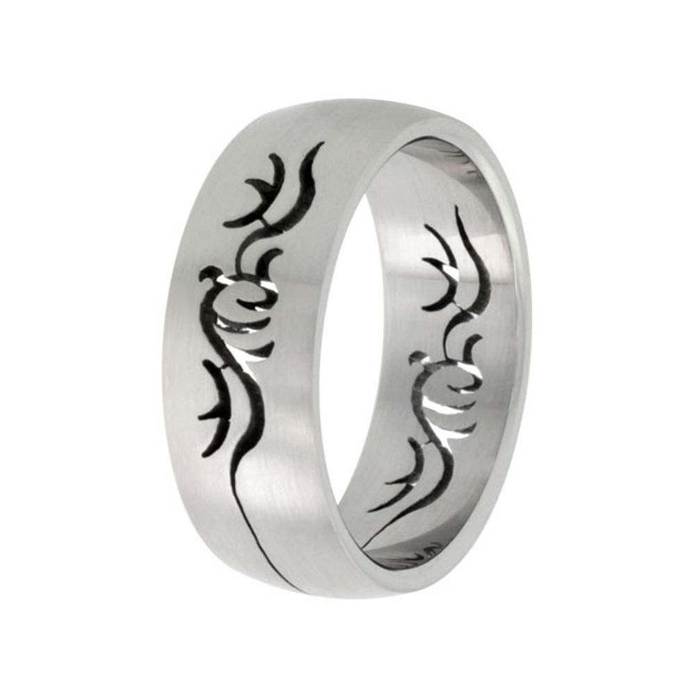 sizes 8-14 Surgical Steel Domed 8mm Band Ring Tribal Cut-out Design