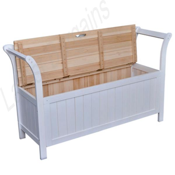 Wooden Storage Bench Seat White Timber Home Blanket Box