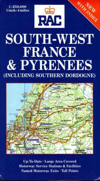 Motorway Map Of France.Details About South West France Pyrenees Southern Dordogne Rac Regional Map France 1 250 000