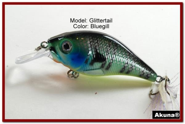 """Akuna Glittertail 3/"""" Shallow Diving Square Bill Crankbait Fishing Lure in Colors"""