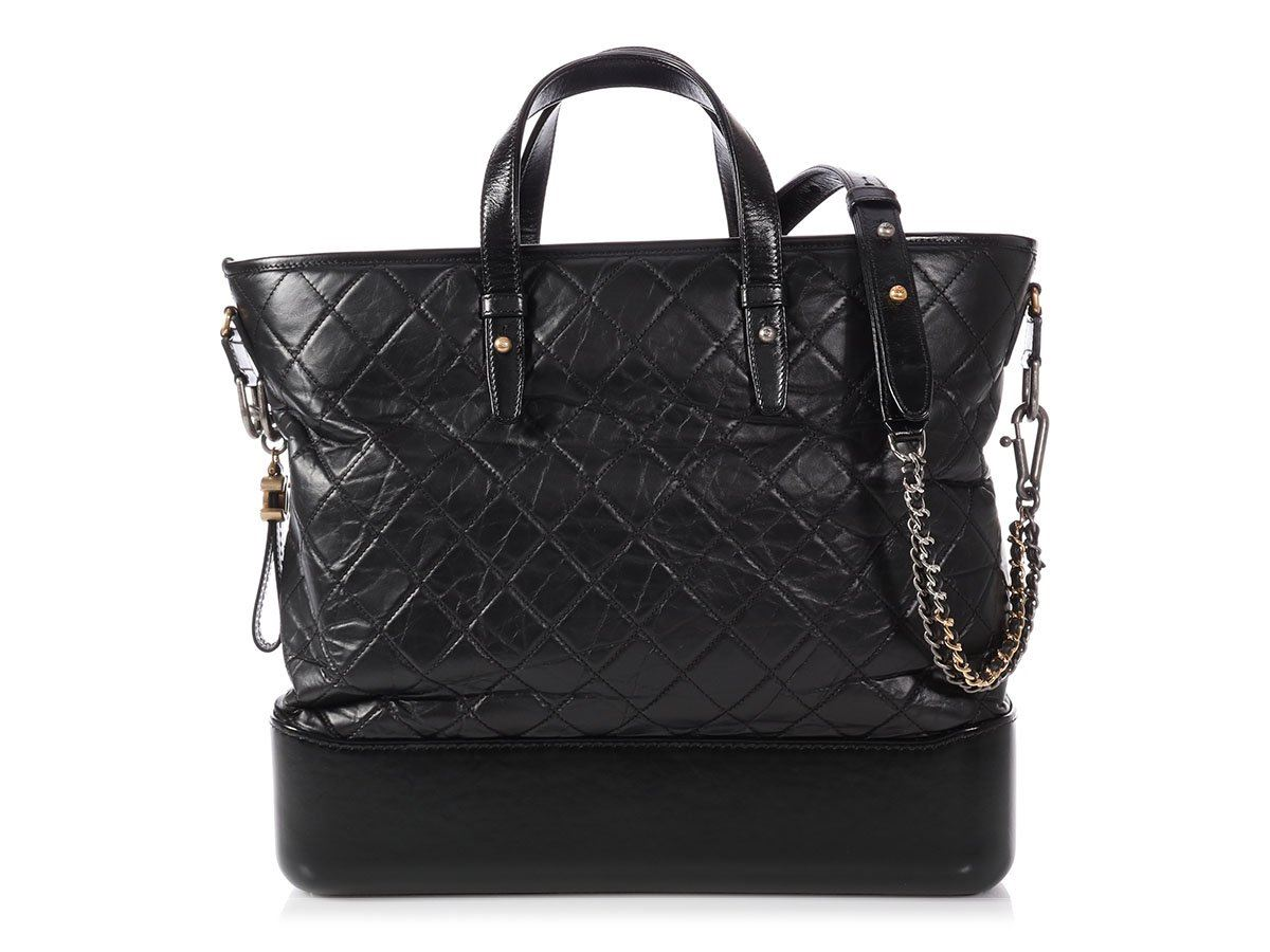 455b548e6c32f6 CHANEL 2018 Large Black Calfskin Gabrielle Shopping Tote Bag Purse ...