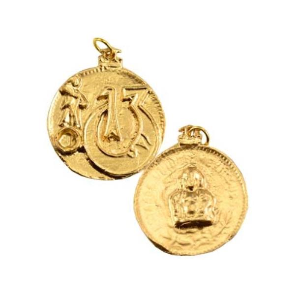 Change Of Luck Buddha Good Fortune Symbols Golden Two Sided Amulet