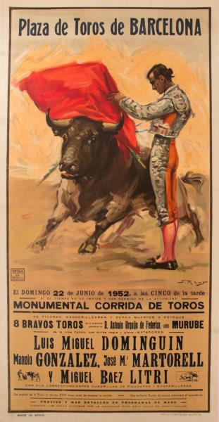 FIESTA DE TOROS BULLFIGHTING 36099 SPAIN VINTAGE TRAVEL POSTER 24x36
