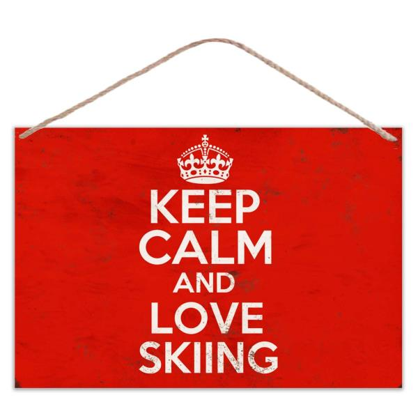 Vintage Look Metal Large Plaque Sign 30x20cm Keep Calm And Love Water Skiing