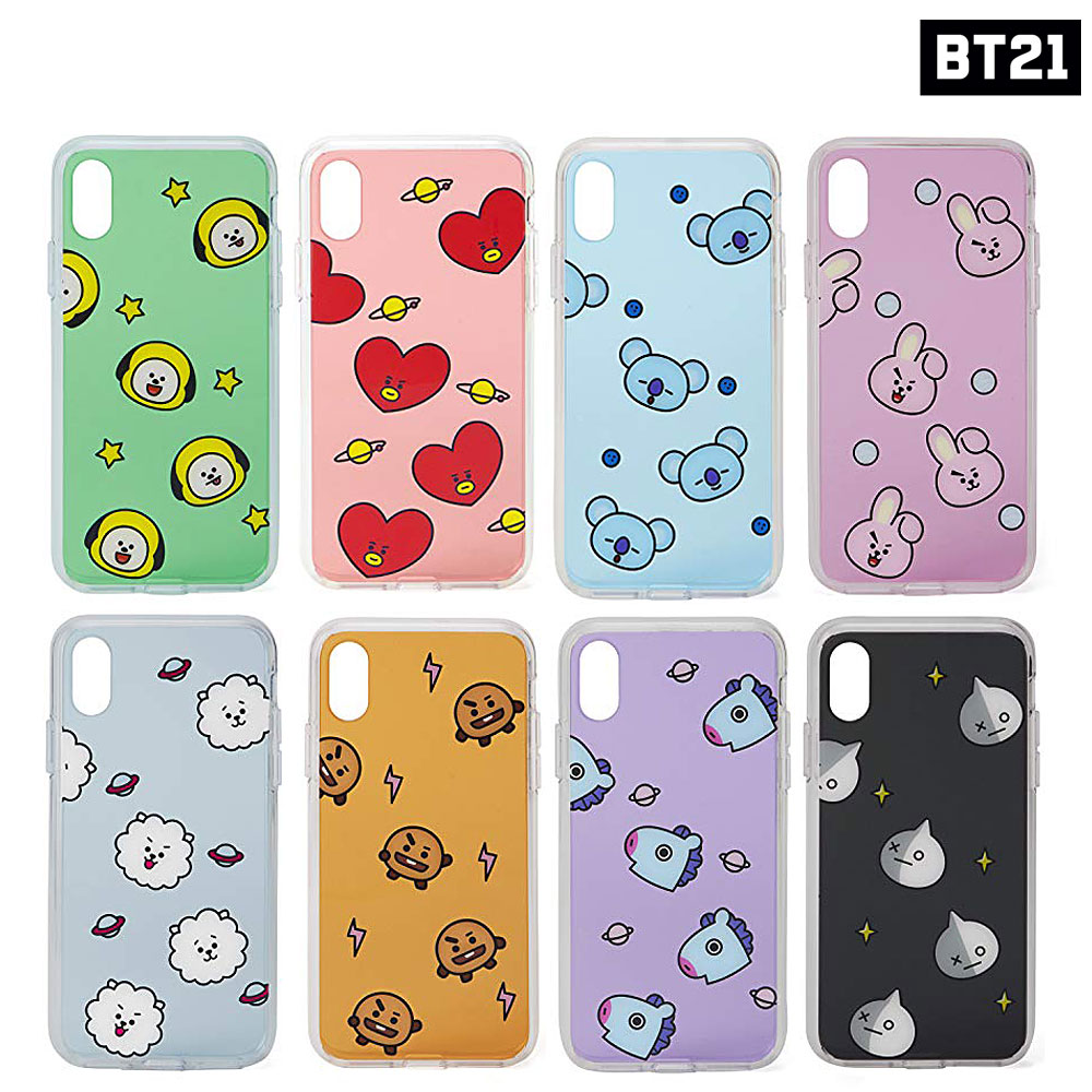 low priced c46dc f6402 Details about BTS BT21 Official Authentic Goods TPU Case Pattern Ver for  iPhone X 7/8 7+/8+