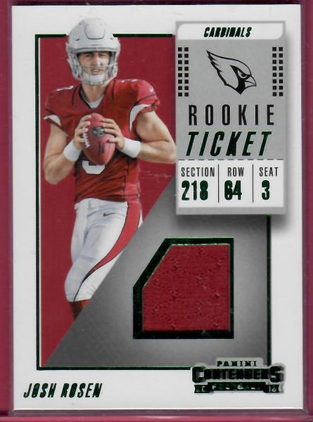 100% authentic a1ee7 f18f8 Details about 2018 Contenders Josh Rosen Cardinals Rookie Ticket Jersey