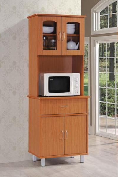 Details about Cherry Tall Kitchen Microwave Stand Utility Cabinet Storage  Shelves Cupboard