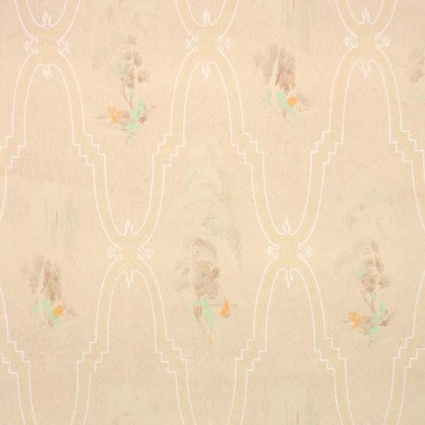 Details About 1940s Scenic Vintage Wallpaper Watercolor Style Trees On Beige