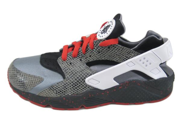 Nike Air Huarache Premium ID Gray Black White Red SZ 11 Snakeskin [777330-993]